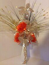 Artificial Silk Flower Arrangement Orange & Gold Ceramic Vase And Lights