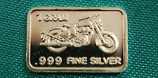 Solid Silver Bullion Bar Motorcycle  1 Gram .999 Fine