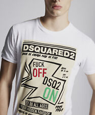 Dsquared2 Mens F**K Off DSQ2 On 100% Cotton Round Neck Short Sleeves T-Shirt Top