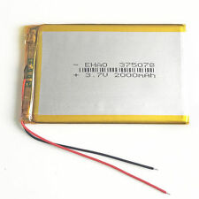3.7V 2000mAh 375078 LiPo Rechargeable Battery For Mobile phone GPS DVD Camera