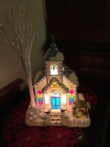 Avon Holiday Splendor Lighted Fiber Optic Church Color Changing