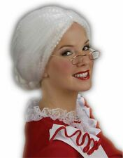 New Adult Old Lady Mrs Santa Claus White Costume Bun Wig