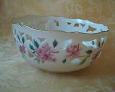 "Lenox Barrington Collection Pierced 8"" Bowl ~ Pink Floral Gold Gilt"