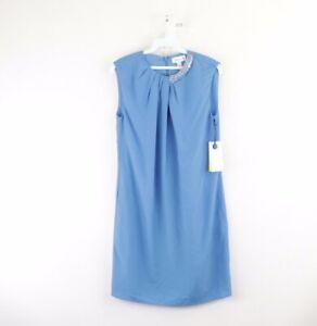 New Philip Lim for Target Womens XS Beaded Neck Draped Sheath Dress Blue