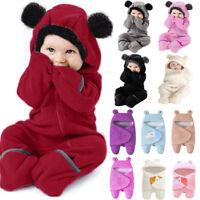 Toddler Unisex Baby Girl Boy Cartoon Ears Hoodie Romper Zip Clothes Jumpsuit UK