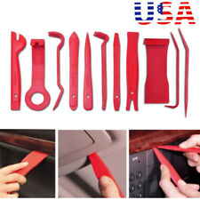 11pcs Red Car Panel Dash Trim Audio Stereo GPS Molding Removal Pry Tools