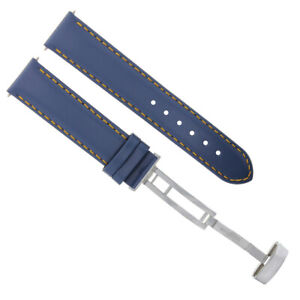 18-19-20-22-24MM LEATHER BAND STRAP SMOOTH WATERPROOF FOR OMEGA SEAMASTER BLUE
