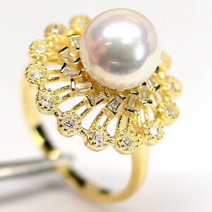 NATURAL 10 mm. CREAMY WHITE PEARL & CZ RING 925 STERLING SILVER
