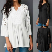 Summer Womens Plus Size Lace Tunic Blouse Peplum Swing Top Ladies Casual T-shirt