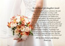 A4 PERSONALISED POEM TO DAUGHTER GRAND DAUGHTER ON WEDDING DAY FROM PARENTS