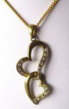 Collier chaîne pendentif bijou vintage plaqué or 2 cœurs cristaux diamant 3407