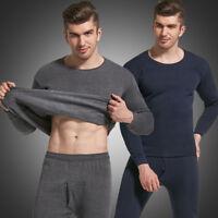 Men Thermal Long Johns Top & Bottom Sleepwear Set Underwear Set Winter Warm Tops