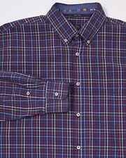 * PAUL & SHARK * Yachting Blue w/ Colorful Checkered Cotton Dress Shirt~ XXL