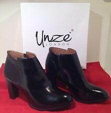 NIB Unze Women's sz 8 Black High Heel Zip-Up Ankle Boots Zip Up Fasten LB1562