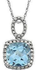 CELESTE Topacio Azul & Diamante 45.7cm Collar en 14k ORO BLANCO