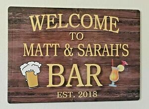 Bar Sign Personalised Home Bar Pub Shed Garage Large Metal Sign Gift Idea