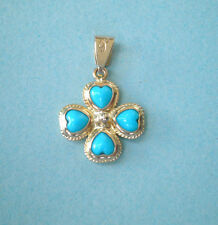 GOLD CROSS K14 WITH TURQUOISE HEARTS