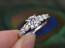 1.00 Ct Diamond Engagement Ring Round 9k White Gold Rings Size S T M N O P