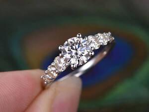 1.00 Ct Diamond Engagement Ring Round 9k White Gold Rings Size S T M N O P