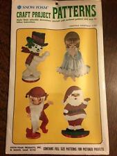 Vintage Snow Foam CRAFT PROJECT PATTERNS Christmas Assortment #P-550, NEW