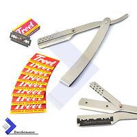 Silver Stainless Steel Barber Hair Shaving Razor Straight Folding Knife + Blades