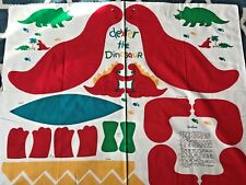 """Cotton Quilt Fabric Dexter the Dinosaur Toy Pillow Red Panel 35""""x44"""""""