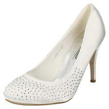 Oferta Mujer Anne Michelle Satén Zapatos de Salón con Diamante Detalle En Frente