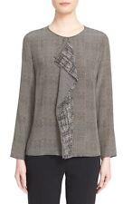 NEW Max Mara Amati' Printed Ruffle Silk Blouse- Black grey size 8 $389