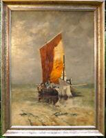 hervorragendes Ölgemälde von Wilhelm Hugo Rupprecht Fischkutter am Strand