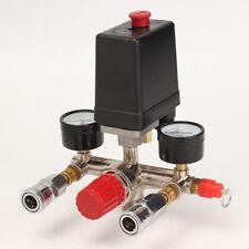 New Air Compressor Pressure Valve Switch Manifold Relief Regulator Gauges Kit