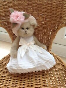 New jointed Bearington Collection teddy bear poseable with dress hat flowers
