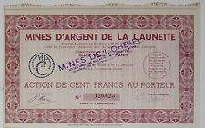 Minas de plata de la CAUNETTE acción de la 100 Frs 1947 (Aude)