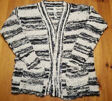 Aeropostale CARDIGAN SWEATER Black & Ivory Cotton JUNIOR Womens M