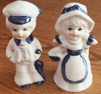 2 Vtg Porcelain Figurines GIRL Maiden with Boy Blue and White w Gold Trim