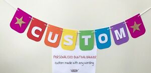 BRIGHT RAINBOW COLOUR STAR ANY WORDING CUSTOM PERSONALISED BIRTHDAY PARTY BANNER