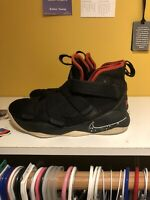 Nike LeBron James Soldier XI Black Red Basketball Shoe 918369-002 Youth Sz 6Y
