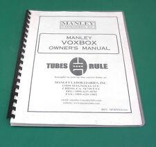 Manley VOXBOX Owner's Manual. MN