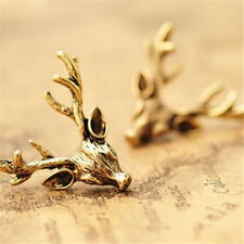 Retro Vintage Copper Deer Antler X'mas Holiday Earring Stud Jewelry Gifts☆