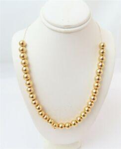"14K Yellow Gold ~8MM Plain Ball Bead Add A Bead Necklace ~24"""