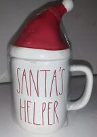Rae Dunn SANTA'S HELPER Mug With Santa Hat
