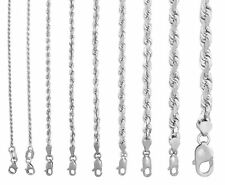 "Real 10K White Gold 1.5mm to 7mm Diamond Cut Rope Chain Pendant Necklace 14""-30"""