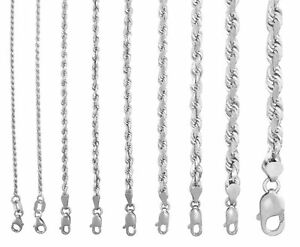 """Real 10K White Gold 1.5mm to 7mm Diamond Cut Rope Chain Pendant Necklace 14""""-30"""""""