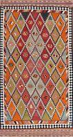 Color-full Flat-Weave Reversible Kilim Navajo South-western Area Rug Tribal 4x9