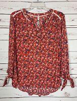 Seven 7 Brand Womens M Medium Orange Floral Lace Knot Cute Fall Top Blouse Shirt