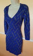 Guess Women's Dress XSmall Blue Silver Sparkly Stripped Long Sleeve Short Dress