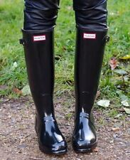 Women's Hunter 'Original' Tall Black Glossy Rain Boots Size 9US/ 40 EU