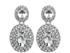 "FREE SHIP Bridal Clear Crystal Pierced Earrings Silvertone 1.6"" Wedding STUNNING"