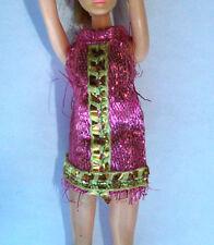 Vtg 1970's Topper Dawn Doll Hot Pink Gold Mesh Mini Dress Metallic