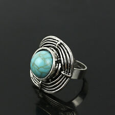 Women's Turquoise Exaggerated Vintage Silver Ring Band Adjustable
