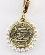 """Juicy Couture 1"""" Queen of Couture Gold Engraved Pearl Circlet Charm /BJ22"""